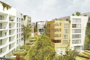 Projekt Lingner Altstadtgarten, Dresden, Visualisierung Bebauung (Peter Kulka Architektur)