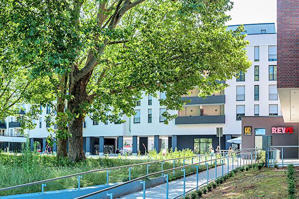 Salamander-Areal, Kornwestheim, Neubau Gewerbeimmobilien am Salamanderplatz mit REWE-Lebensmittelmarkt und Backshop