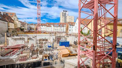 Projekt Höfe am Kaffeeberg, Ludwigsburg, Baustelle der Wohngebäude